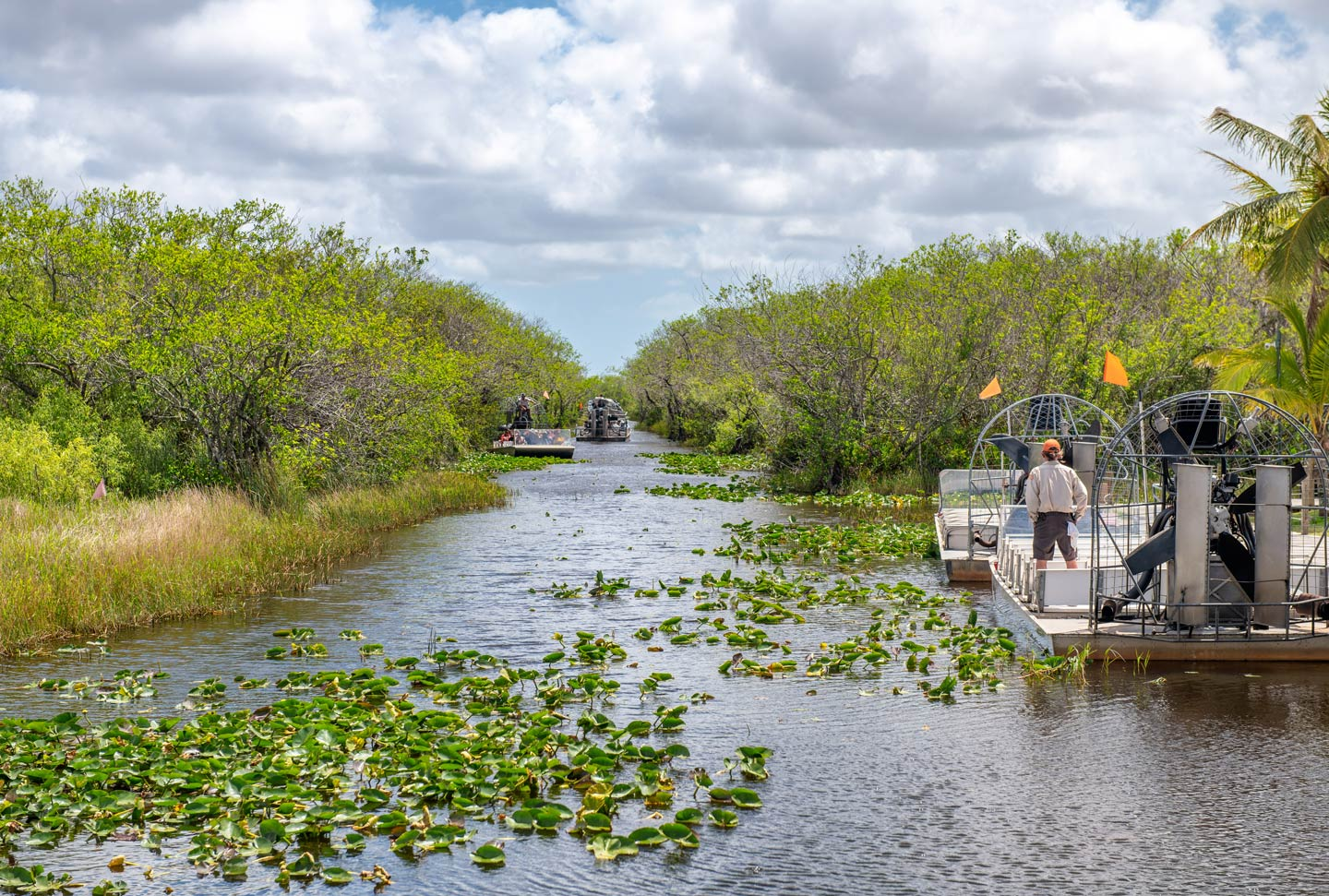 Airboats on the waters of the Everglades, Florida
