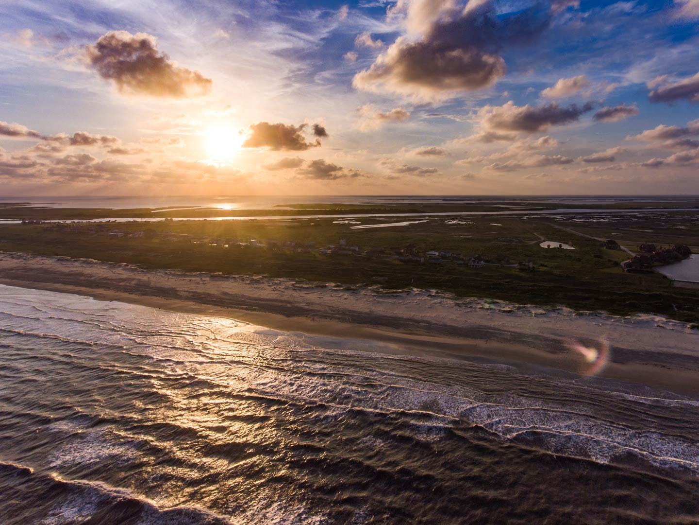 Aerial view of Matagorda Bay in Texas