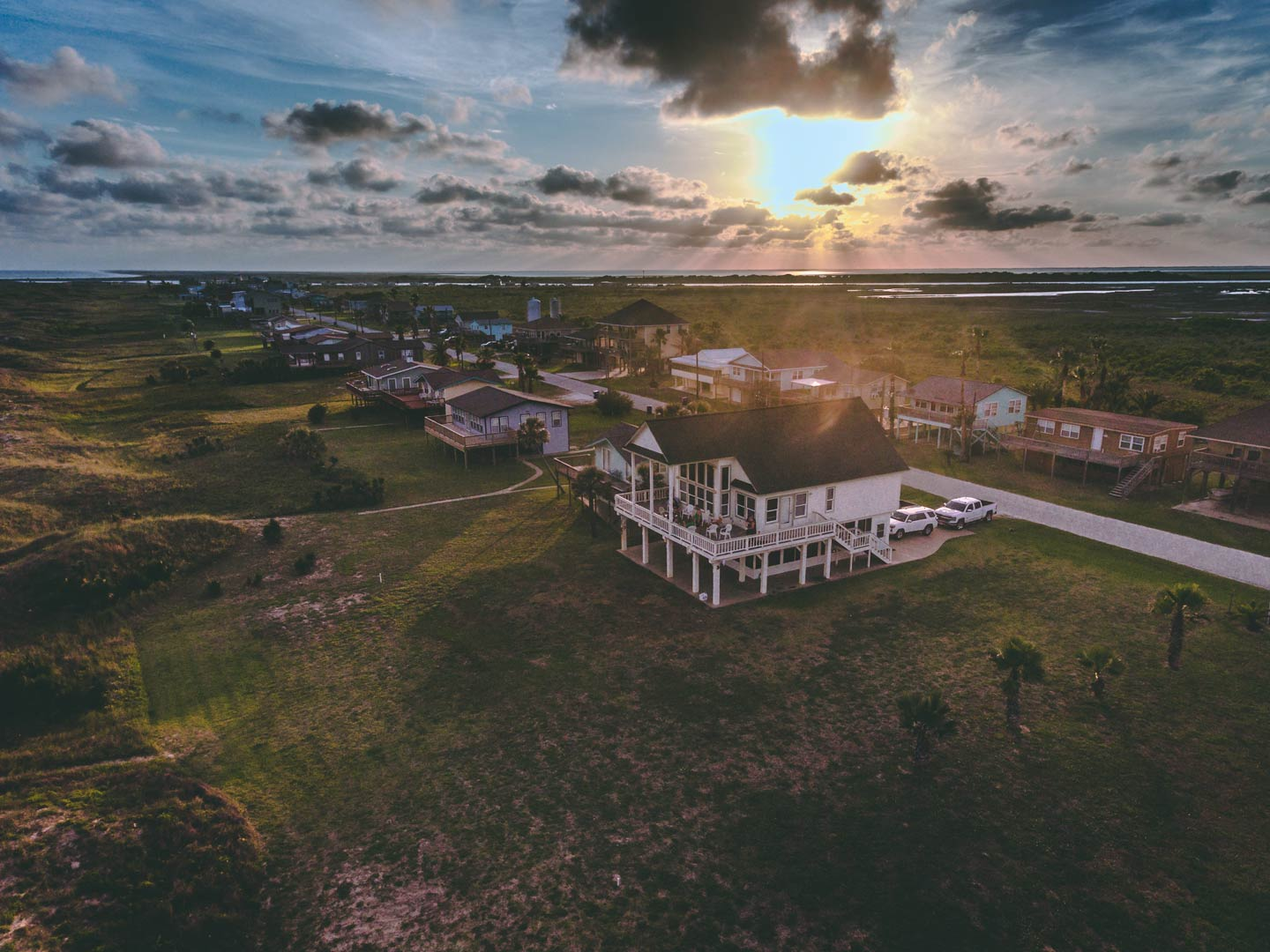 An aerial view of houses in Matagorda