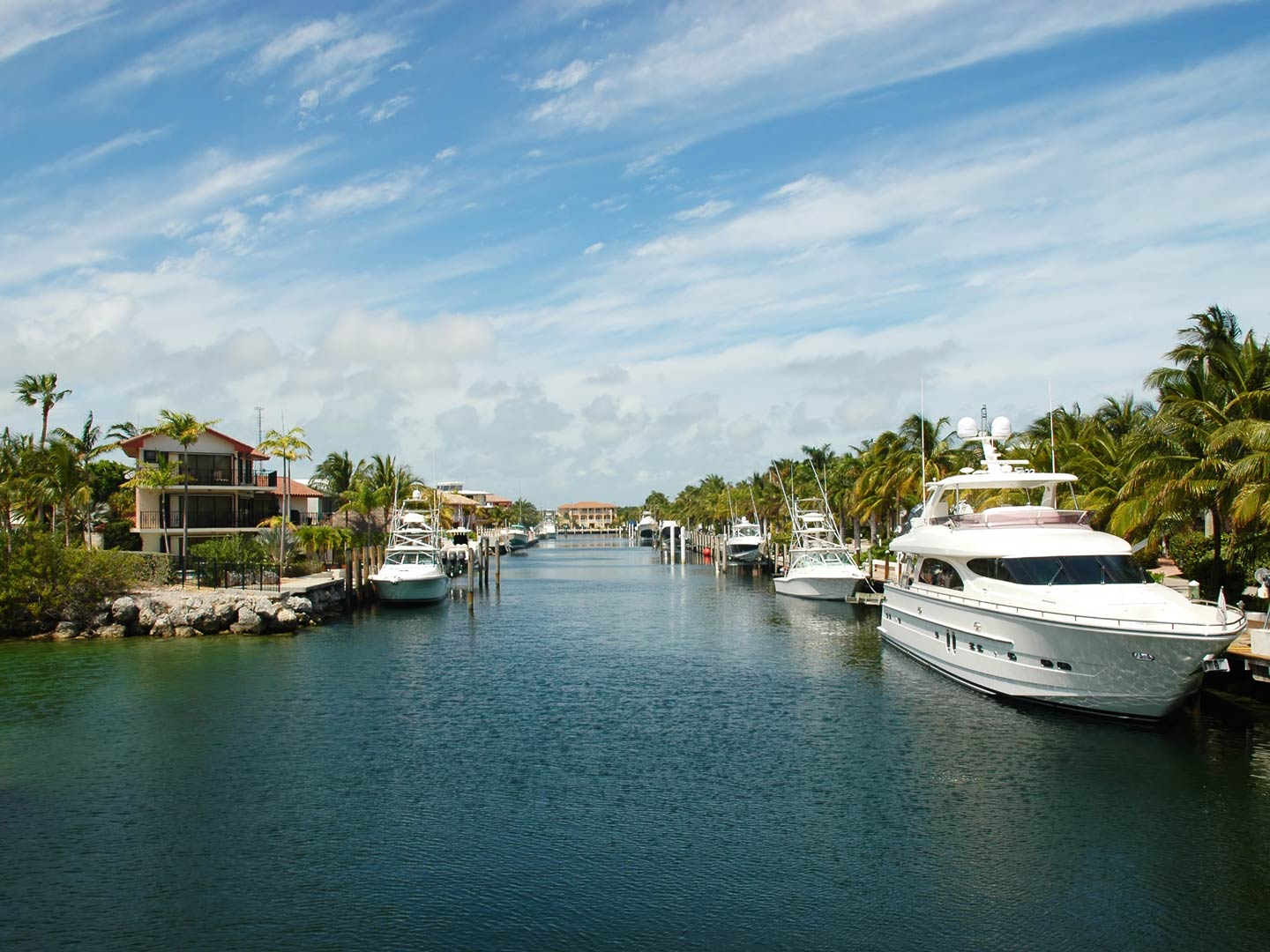 Charter boats docked on the waters of Key Largo, Florida