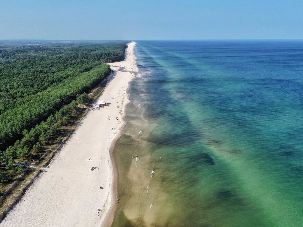 Aerial view of a beach and the Baltic Sea in Poland
