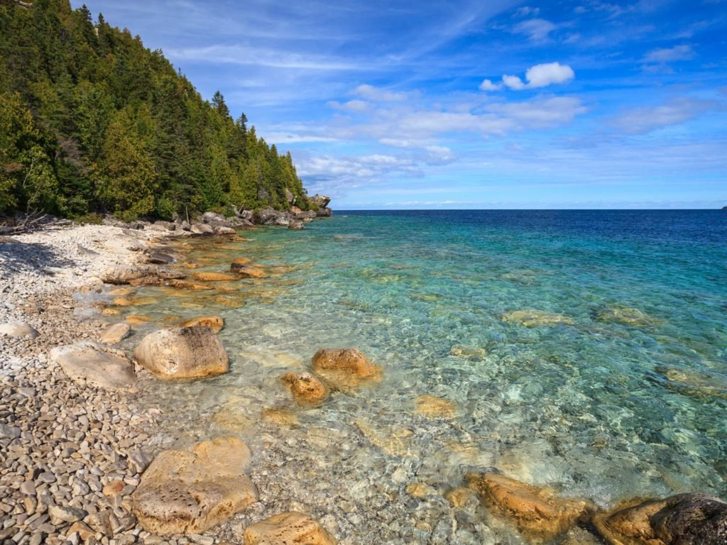 A view of Lake Huron from a beach