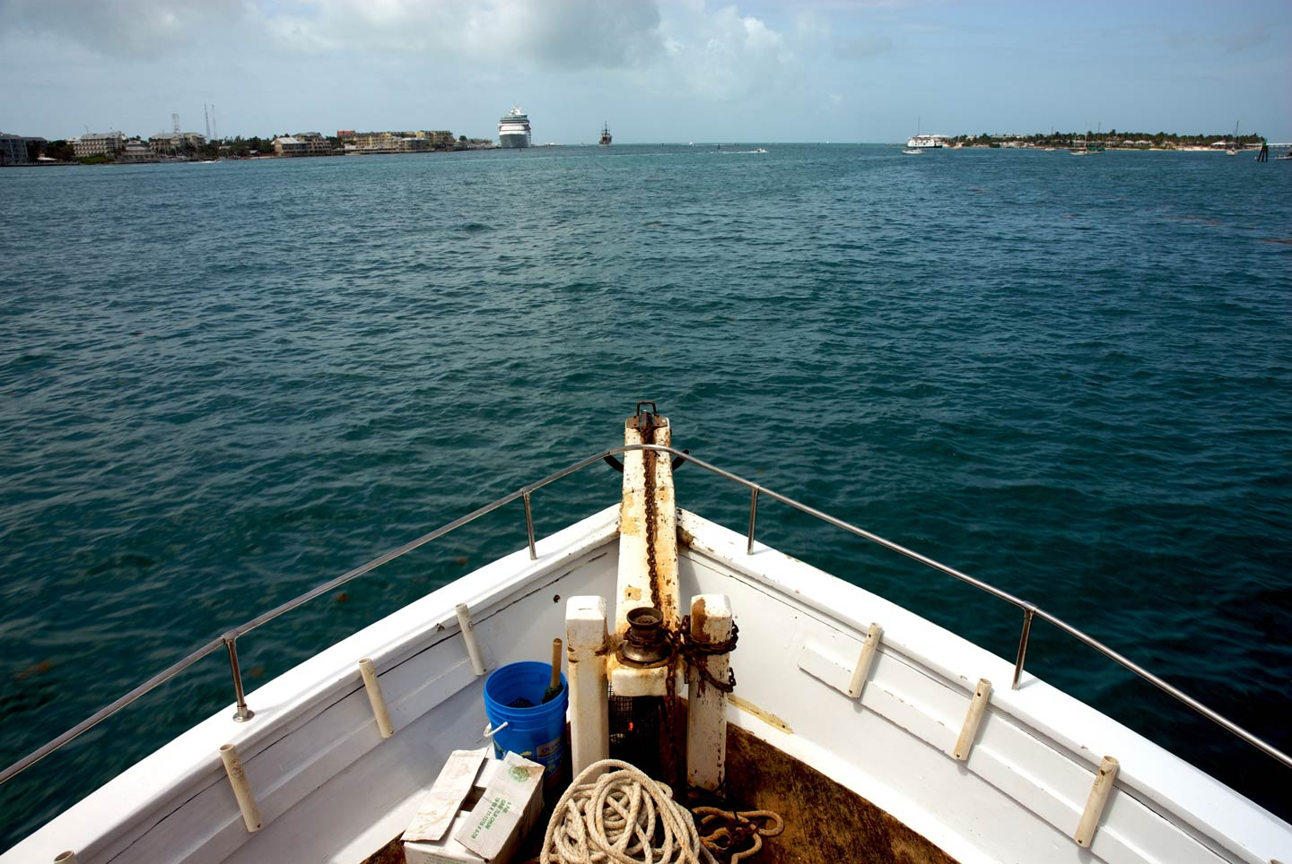 A view from a charter fishing boat on the water