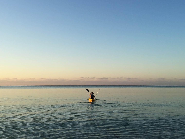Kayak fishing in the waters of Marathon, Florida