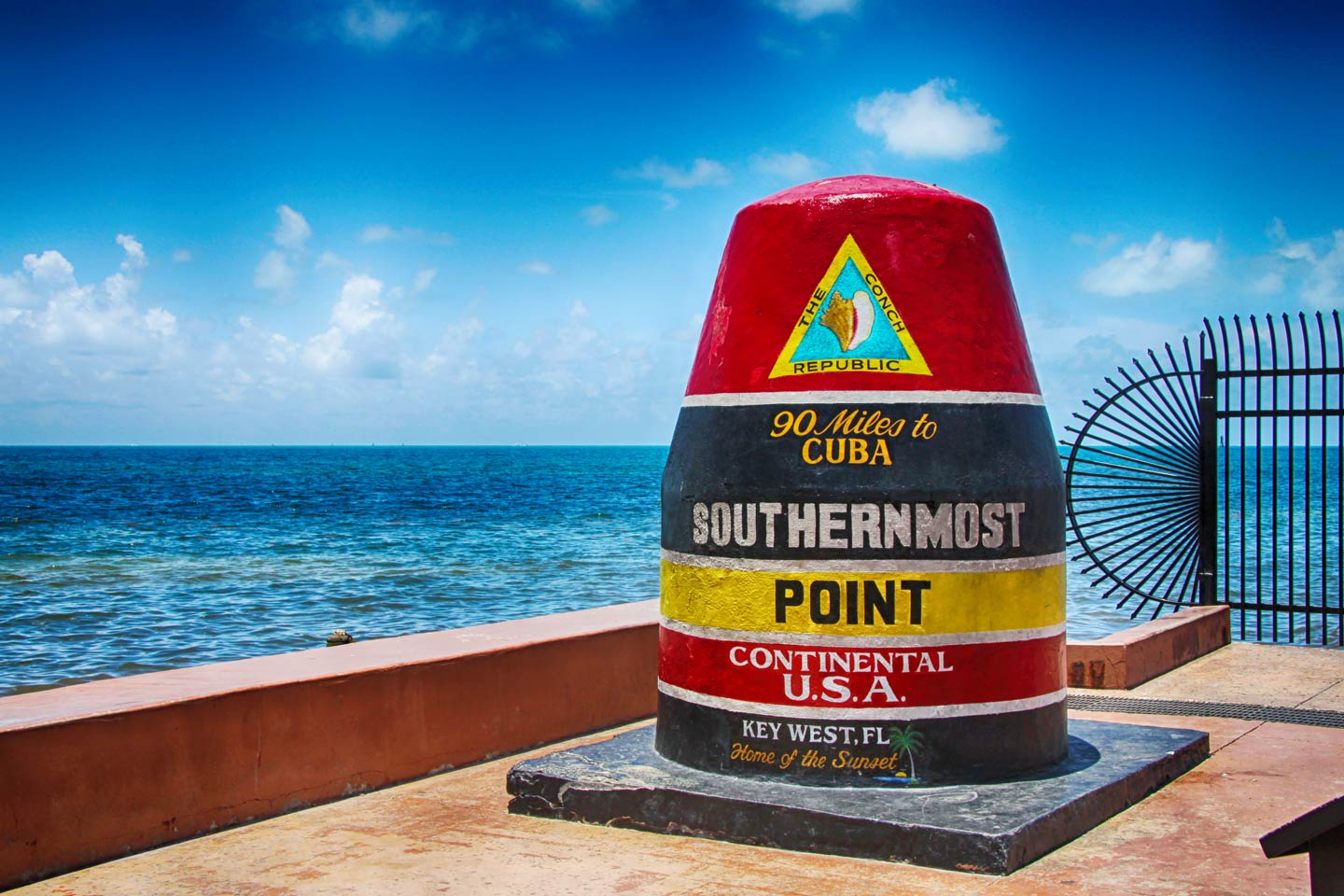 The famous landmark of the southernmost point of the USA in Key West, Florida