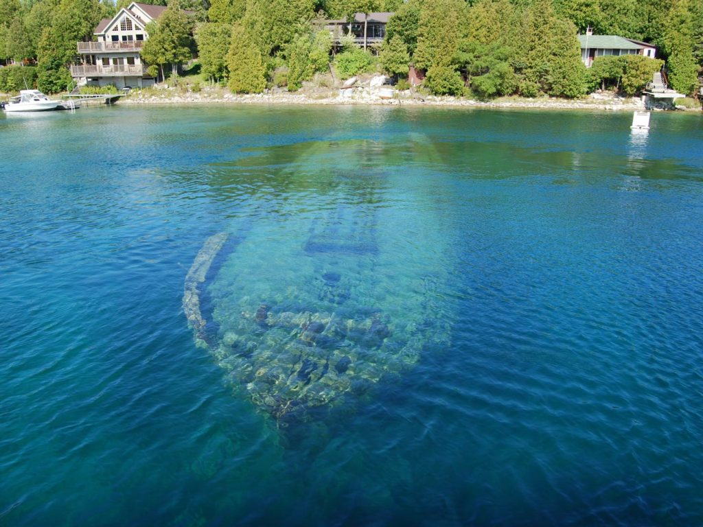 A sunken ship in Lake Huron