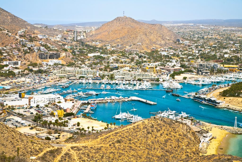 A view of the marina in downtown Cabo San Lucas