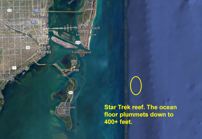 A map showing Star Trek Reef, a fishing spot in Miami